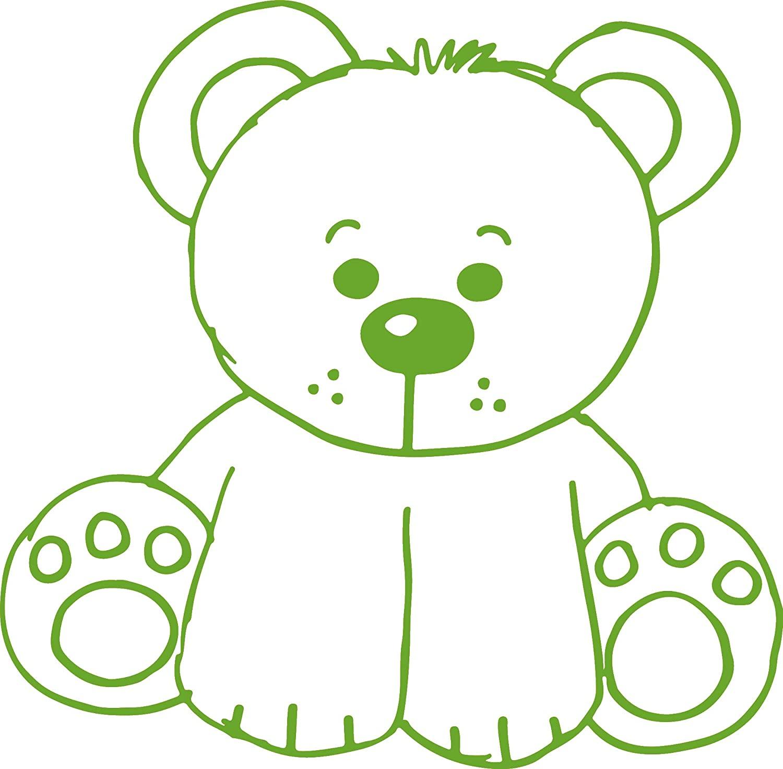 hBARSCI Teddy Bear - Aunt Liz's Elementary Sticker Series - 11 Inches - for Walls, Windows, Doors, Vehicles, Outdoor-Grade 2.5mil Thick Vinyl - Lime