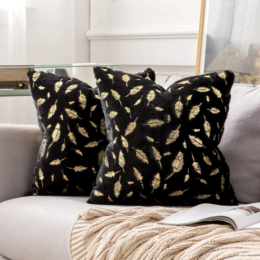 MIULEE Pack of 2 Decorative Throw Pillow Covers Plush Faux Fur with Gold Feathers Gilding Leaves Cushion Covers Cases Soft Fuzzy Cute Pillowcase for Couch Sofa Bed, 20 x 20 Inch, Black
