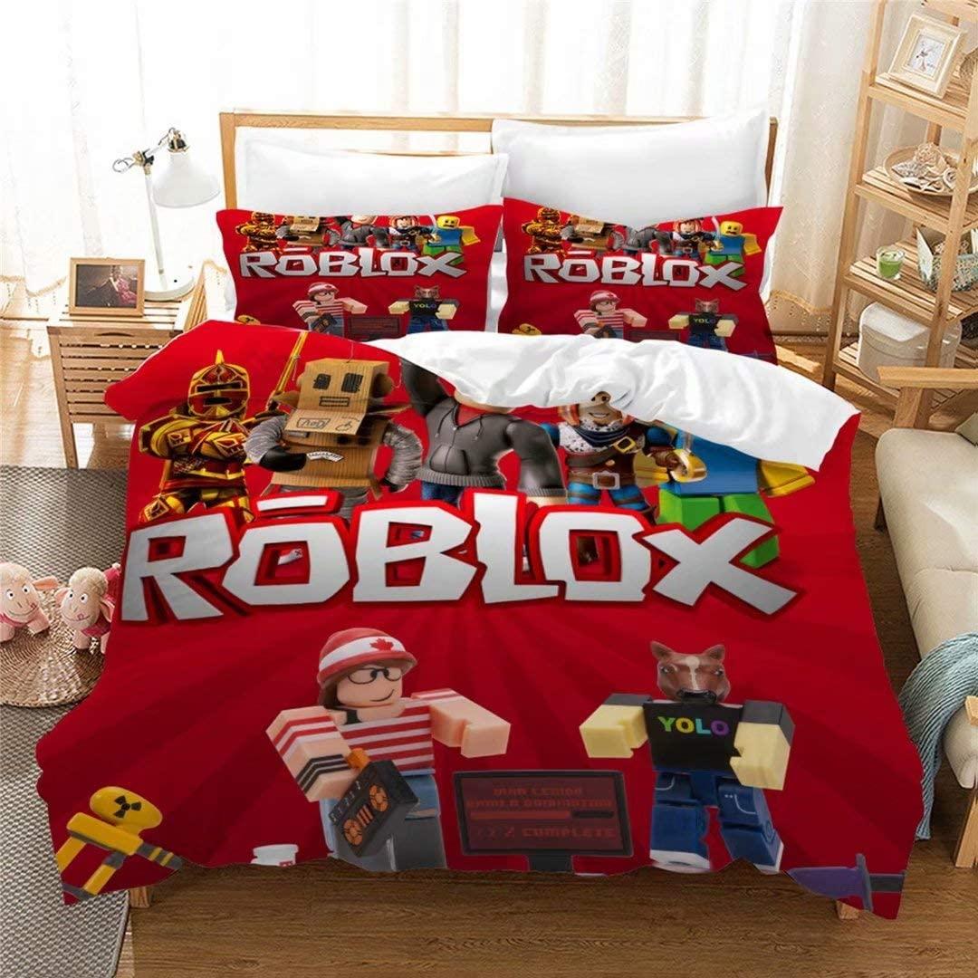 Ro-blox Duvet Cover Set for Girls Boys Queen,Popular Game Theme Bed Set,Teens 3D Ro-Blox Comforter Covet,3PCS Soft Microfiber Bedding Set Bedspead (1 Duvet Cover + 2 Pillowcases)