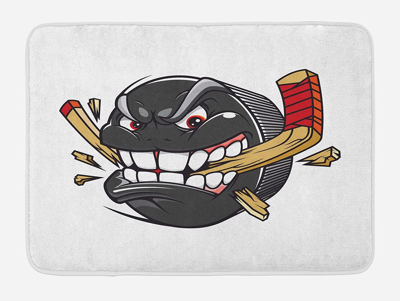 Ambesonne Hockey Bath Mat, Cartoon Hockey Puck Bites and Breaks Hockey Stick Championship Game Mascot Character, Plush Bathroom Decor Mat with Non Slip Backing, 29.5 X 17.5, Multicolor