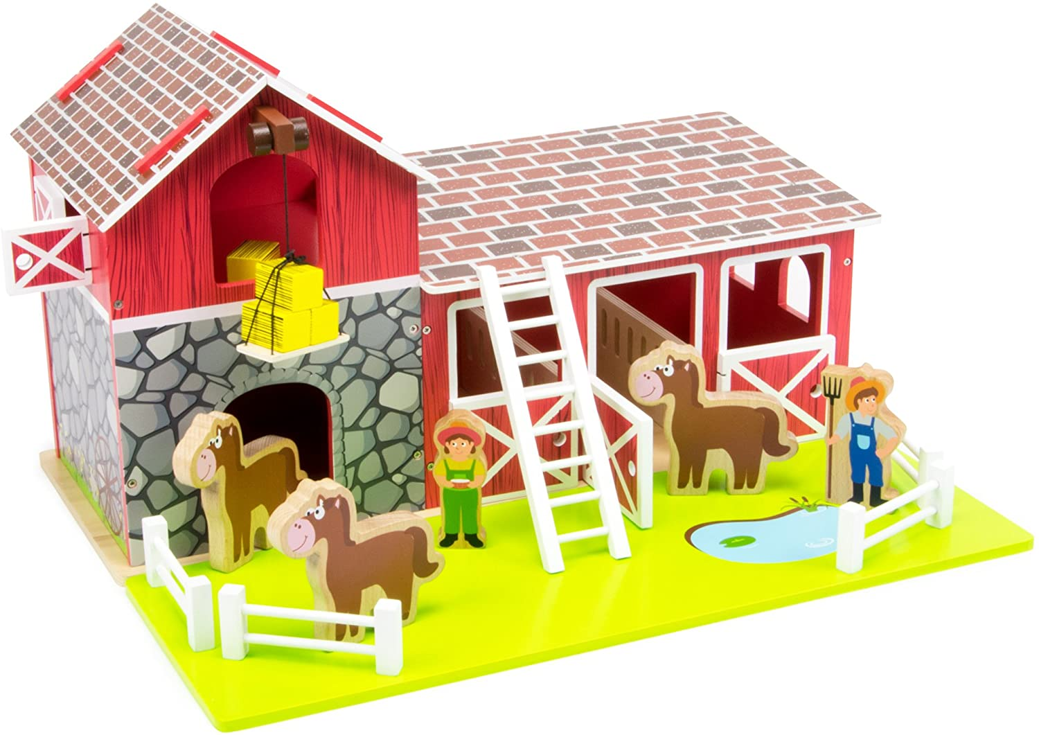 Saddle Up! Wooden Barnyard Playset | Includes Horses, Farmers, Hay, Lift, Fences, and Stable | Farm Toy Packed in with Animal and Farmer Dolls | Barn Corral Opens Up and Features Working Doors