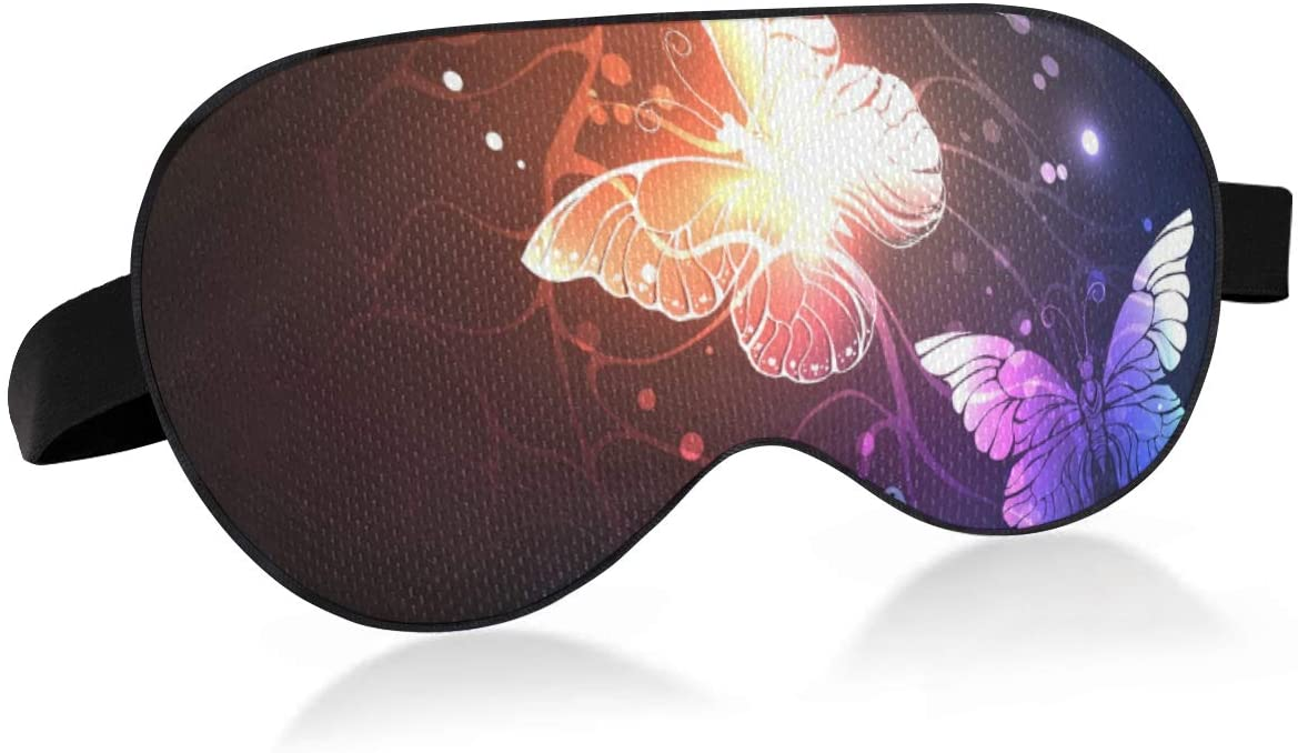 ALAZA Night Glowing Butterfly Sleep Mask for Women Men Eye Mask for Sleeping Funny Blackout Cooling Sleeping Masks