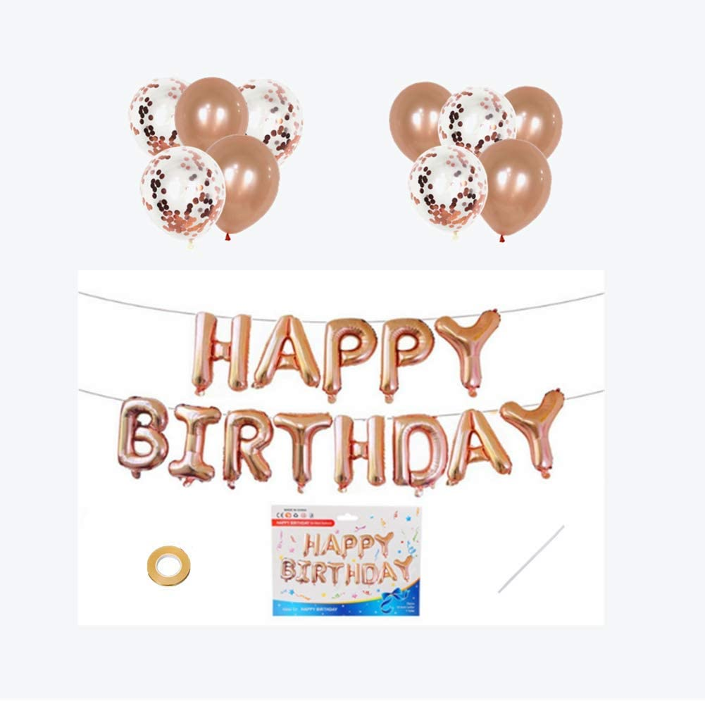 Koodreat Happy Birthday Balloons, Happy Birthday Banner Foil Letter Balloons Reusable Ecofriendly Materialfor Birthday Decorations and Party Supplies(Rose Gold)