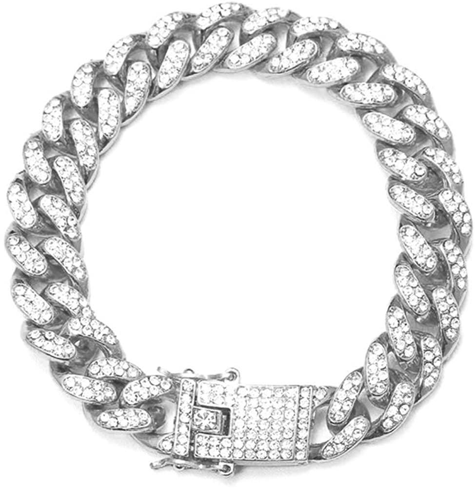 Hip Hop Bracelet Plated Iced Out Diamond Miami Cuban Link Chain Bracelet Gold Plated Men Choker Chain Bracelet