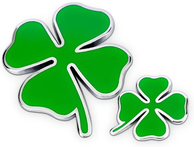 Four Leaf Clover Metal Car Badge Emblem Auto 3D Decals Motorcycle Stickers, 2Pcs