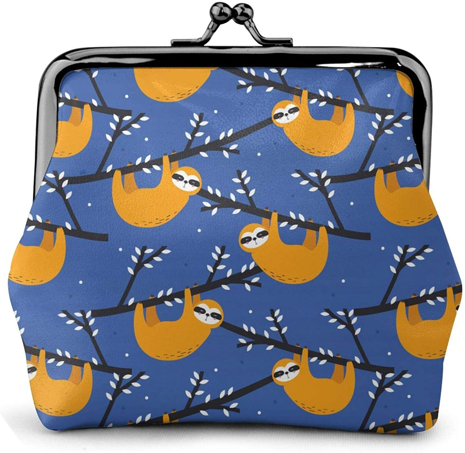 Cute Sloth That Climbs Trees Blue Girl Pouch Kiss-Lock Change Purse Wallets Buckle Leather Coin Purses Bag Key Woman Printed Vintage