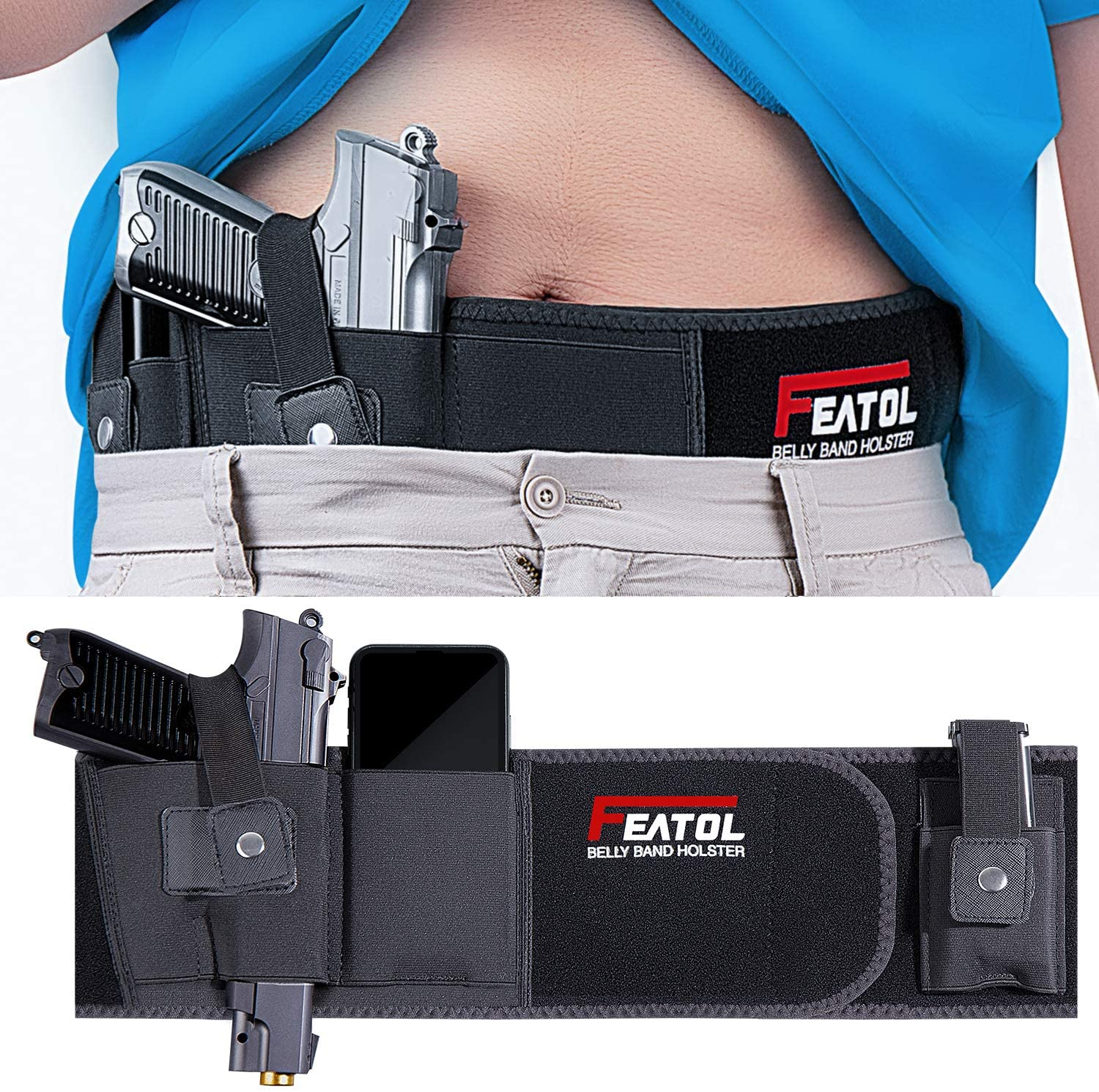 FEATOL Belly Band Holster for Concealed Carry, Gun Holsters for Men Women, Fits Gun Smith and Wesson Bodyguard, Shield, Glock 19, 17, 42, 43, P238, Ruger LCP, and Similar Sized Guns