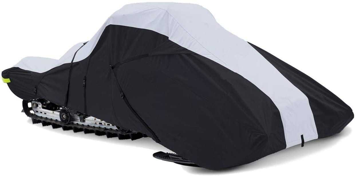 Super Quality Full-fit Snowmobile Cover fits Yamaha Nytro for Model Years 2006-2007. 600 Denier Black and Gray, trailerable.