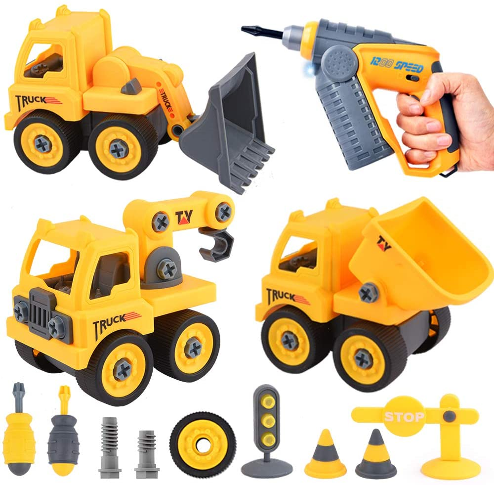 Sotodik 99PCS Take Apart Toys Car with Electronic Drill, 21 Models DIY Vehicle Playset Crane Truck Dump Construction Engineering STEM Learning Toys for Kids Boys Girls