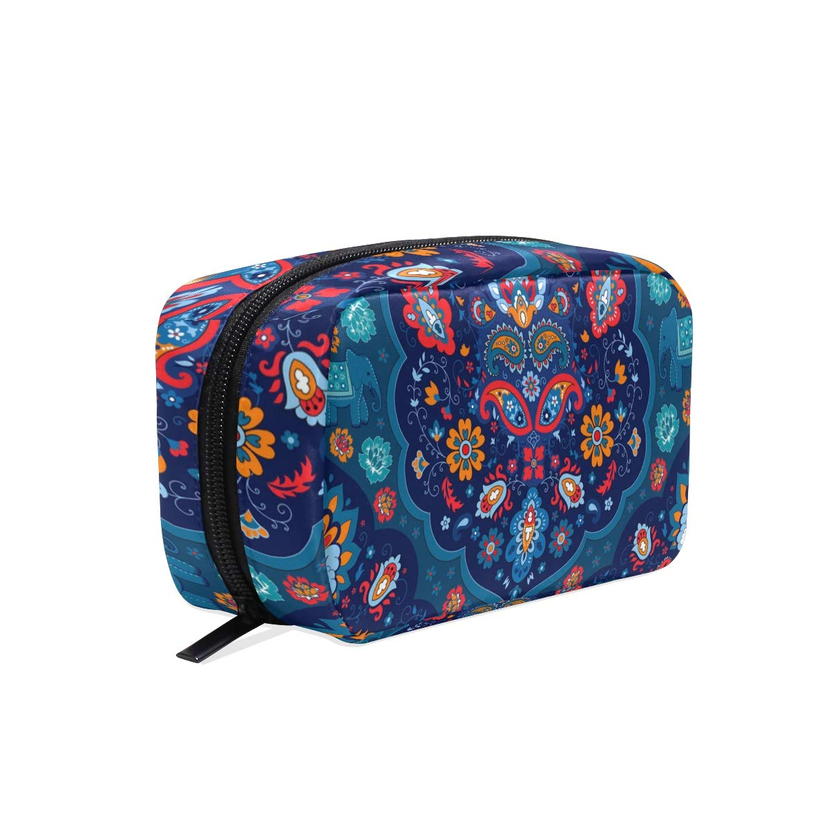 Makeup Bag Portable Travel Cosmetic Train Case Indian Rug Paisley Ornament Pattern Toiletry Bag Organizer Accessories Case Tools Case for Beauty Women