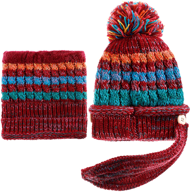 Dosoni Women Girl Winter Hats Knit Soft Warm Earflap Hood Cozy Large Snowflake Beanie