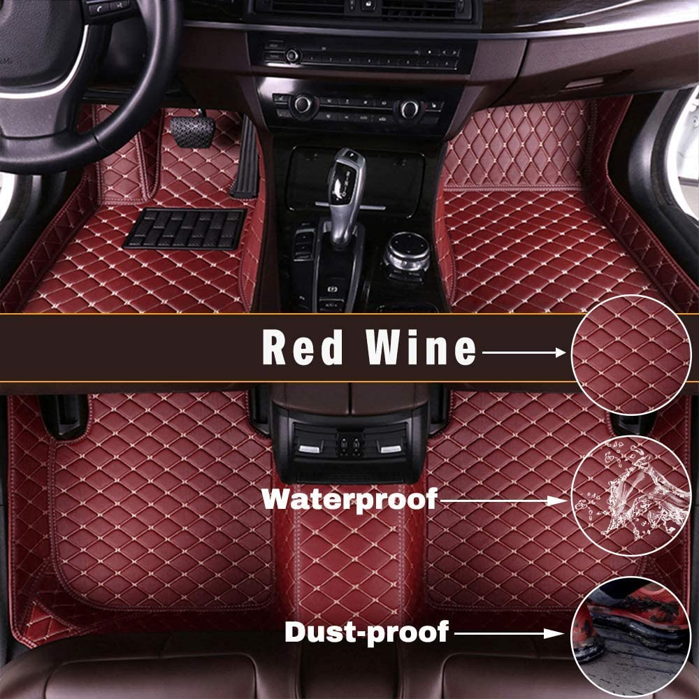 Maidao Custom Car Floor Mats for Nissan Sunny 2018 Can Be Customized for 99% of Car Models Can Be Customized Pattern Or Logo Waterproof Non-Slip Leather Liner Set Red Wine