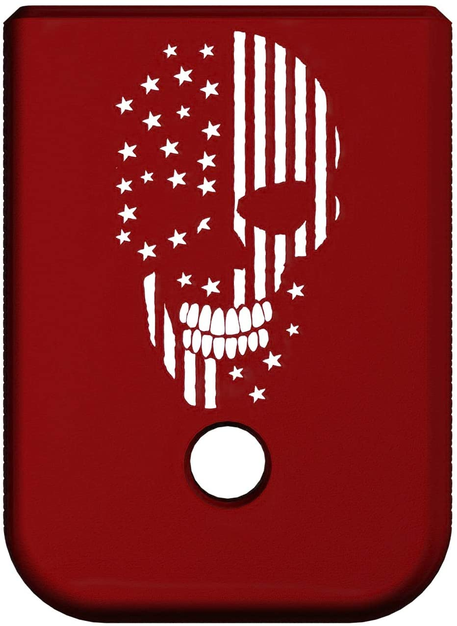 Rowe Tactical Glock Gen 1-5 Magazine Base Plate - Red (Cross Hatch) American Flag Skull Graphic - Fits 9mm .40 Cal .357 Sig 45 Gap