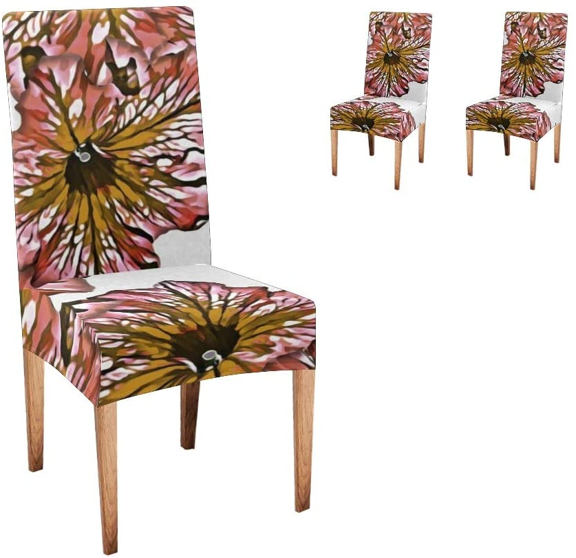 CUXWEOT Chair Covers for Dining Room Watercolor Pink Florals Slipcovers Seat Covers for Party Decor (Set of 2)