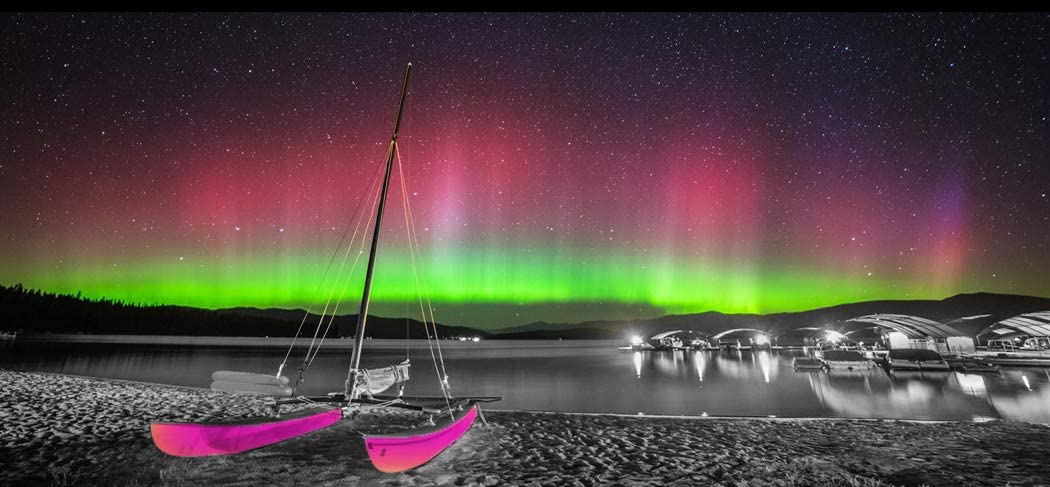 Home Wall Art Décor of Colorful Aurora Scenery on The Sea, Gorgeous Aurora with Stars in The Black Sky Canvas Prints Pictures Painting Artwork, Pink Sailboat Landscape Paintings