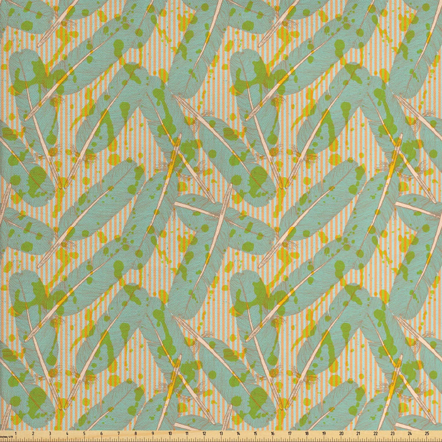 Ambesonne Grunge Fabric by The Yard, Pastel Exotic Jungle Leaves Paint Brushstroke Effects on Vintage Stripes, Decorative Fabric for Upholstery and Home Accents, 1 Yard, Salmon Seafoam Green