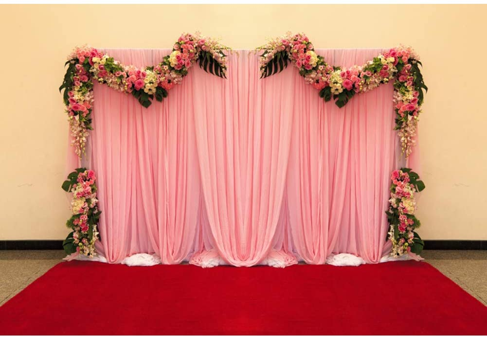 Haoyiyi 7x5ft Wedding Backdrop Drapery Background Pink Photography Gear Festival Garden Christmas Panels Camping Photo Booth Studio Shoot Shooting Photobooth Photographers Photosoot Props