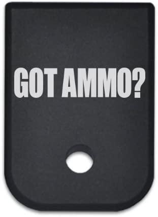 BASTION Magazine Base Plate Butt for Glock 19 17 22 23 26 | Gen 1-5 | 9mm .40 .357 .45 Gap | Laser Engraved Black T6 Machined Aluminum Mag Floor Baseplate Bottom (GOT Ammo?)