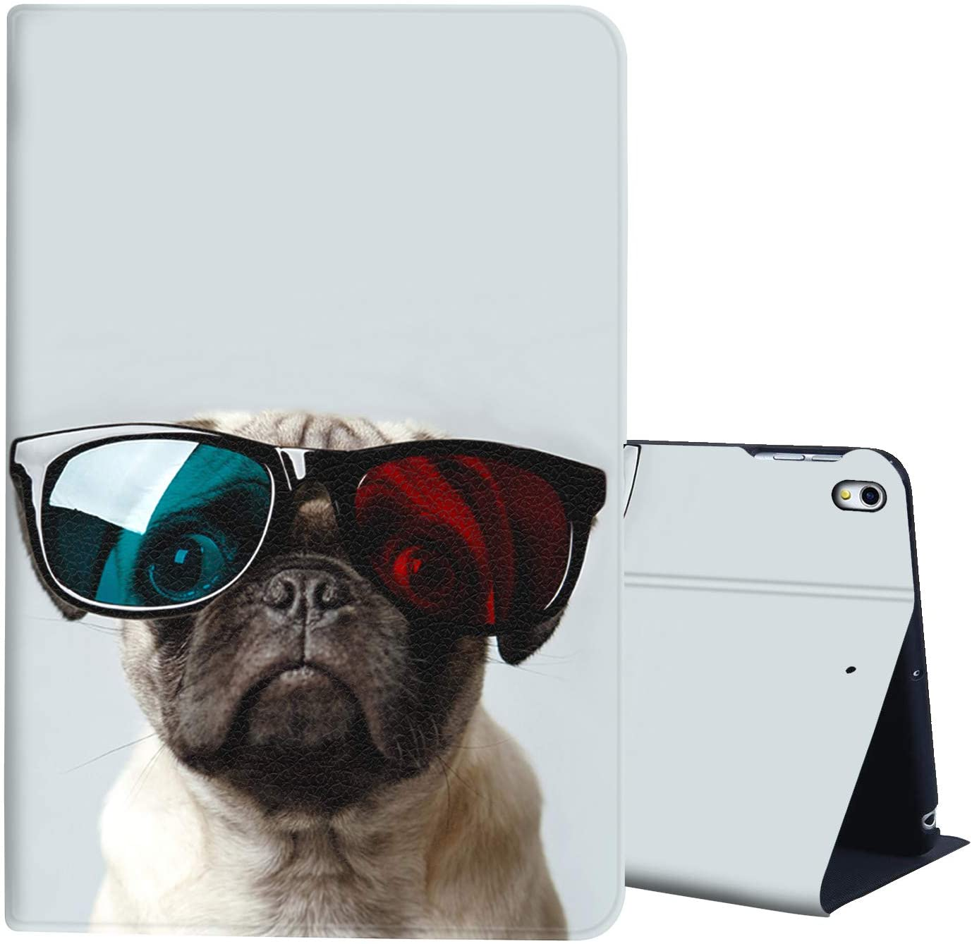 iPad Pro 12.9 Case 2018,AIRWEE Full Body Protective Rugged Shockproof Case with Adjustable Angle & Auto Sleep/Wake for Apple iPad 12.9 Inch 3rd Gen,Pug Dog with Glasses