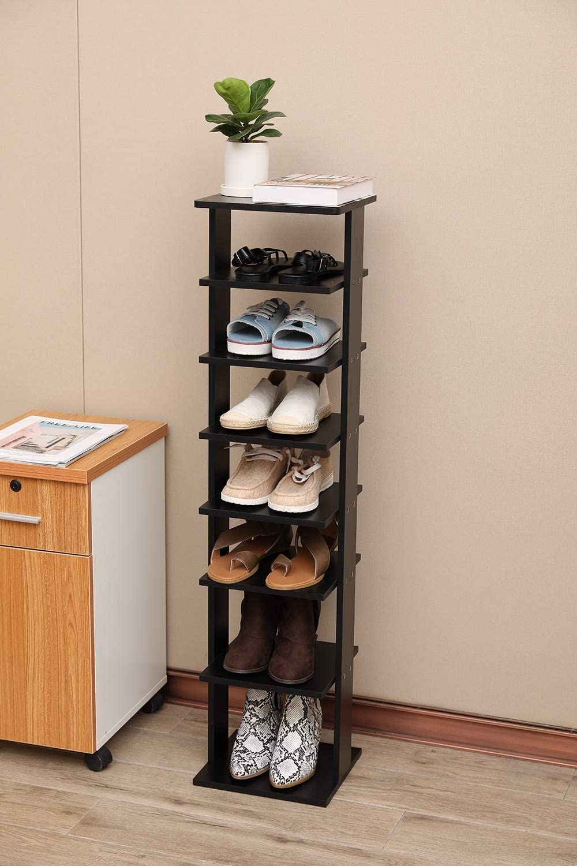 Lipo 7-Tier Shoe Racks, Entryway Shoes Storage Stand, Modern Vertical Shoe Rack, Organizer, Storage Shelf (Black)
