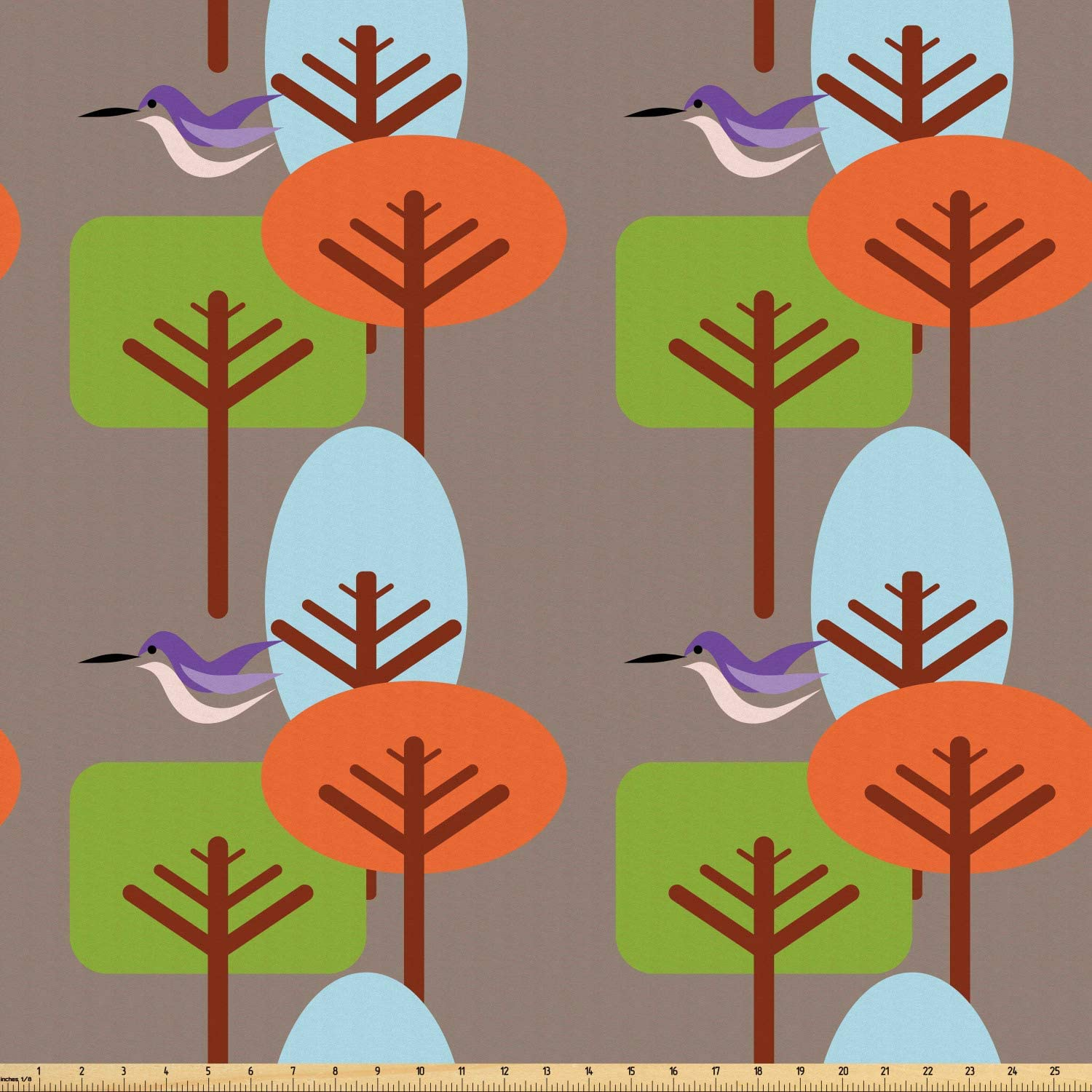 Ambesonne Mid Century Fabric by The Yard, Flying Hummingbird and Colorful Trees Simple Nature Modernist Art Approach, Microfiber Fabric for Arts and Crafts Textiles & Decor, 3 Yards, Umber Green