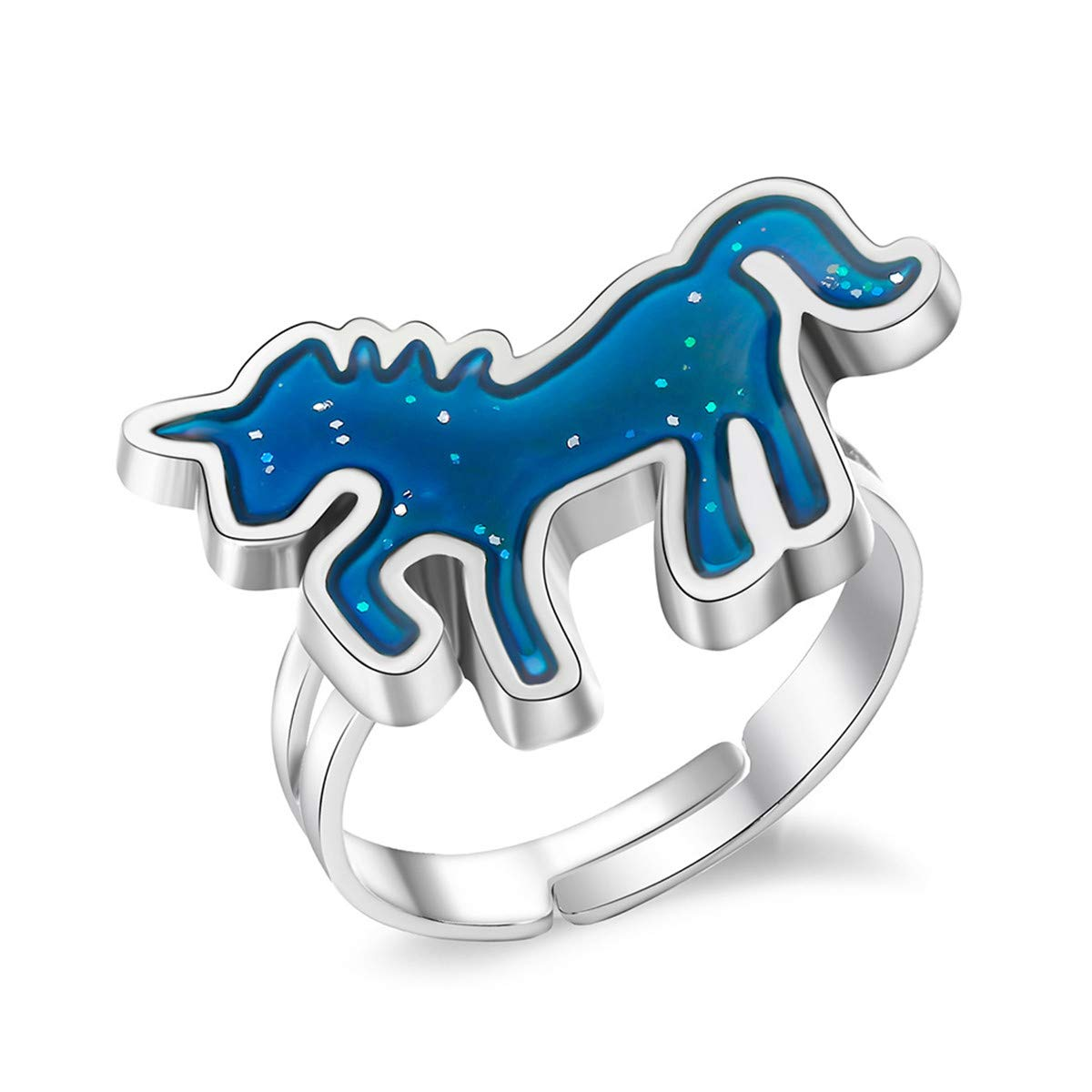 Beiswe Cute Unicorn Finger Ring Creative Change Color Mood Emotion Unicorn Rings for Women Girls Surprise Birthday Gift
