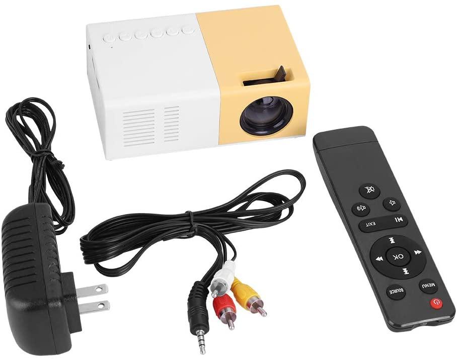 Pupilash Projector Mini-Projector Portable Mini Stylish Home Theater Portable LED Projector HD Support 1080P HDMI VGA Multimedia Player(White + Yellow)