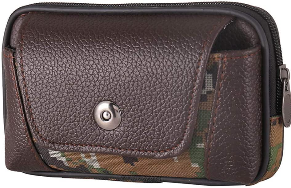 FEIlei Waist Bag, Men Vintage PU Leather Waist Bag Belt Loop Holster Carry Phone Pouch Wallet- Coffee Color