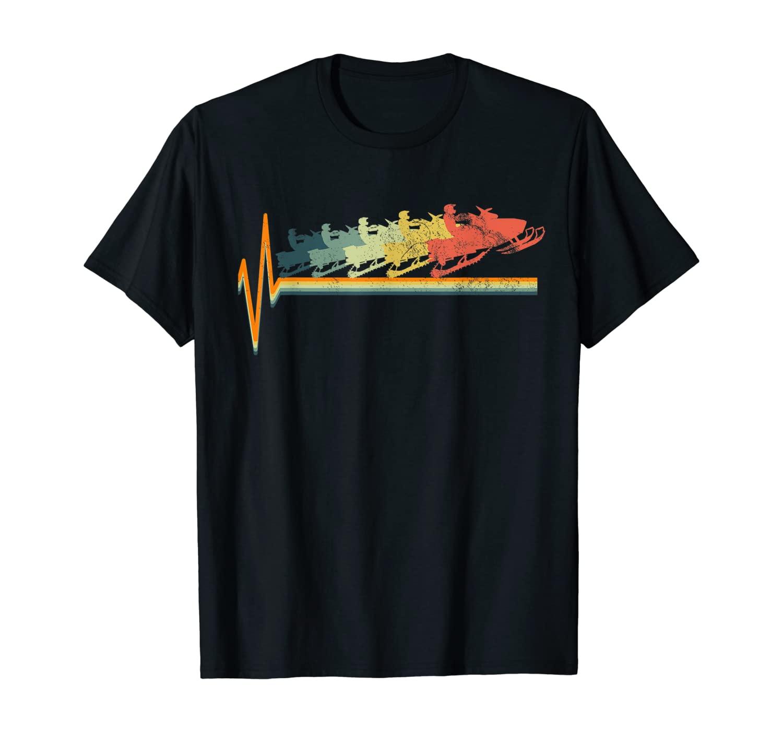 Snowmobile Retro Heartbeat Vintage Love Gift T-Shirt