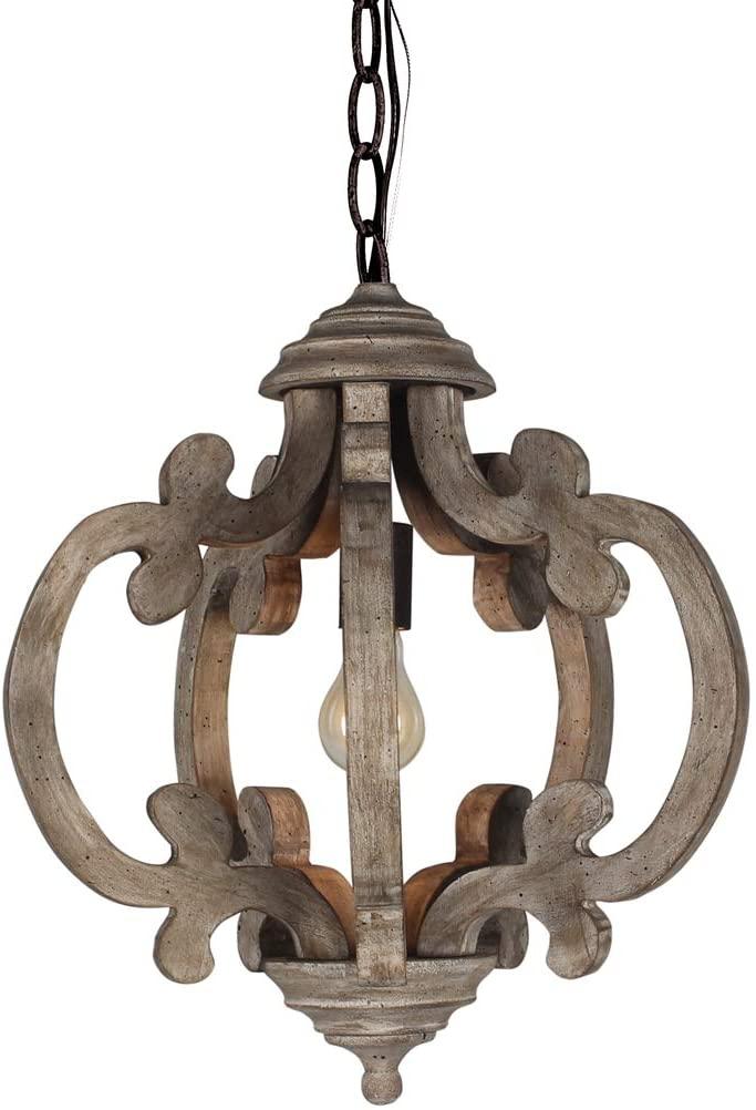 LB Lighting Retro Metal Wooden Chandelier Chandeliers 1-Light Hanging Pendant Ceiling Wood Chandeliers for Living Room, Dinning Room, Bedroom, Foyer, Kitchen