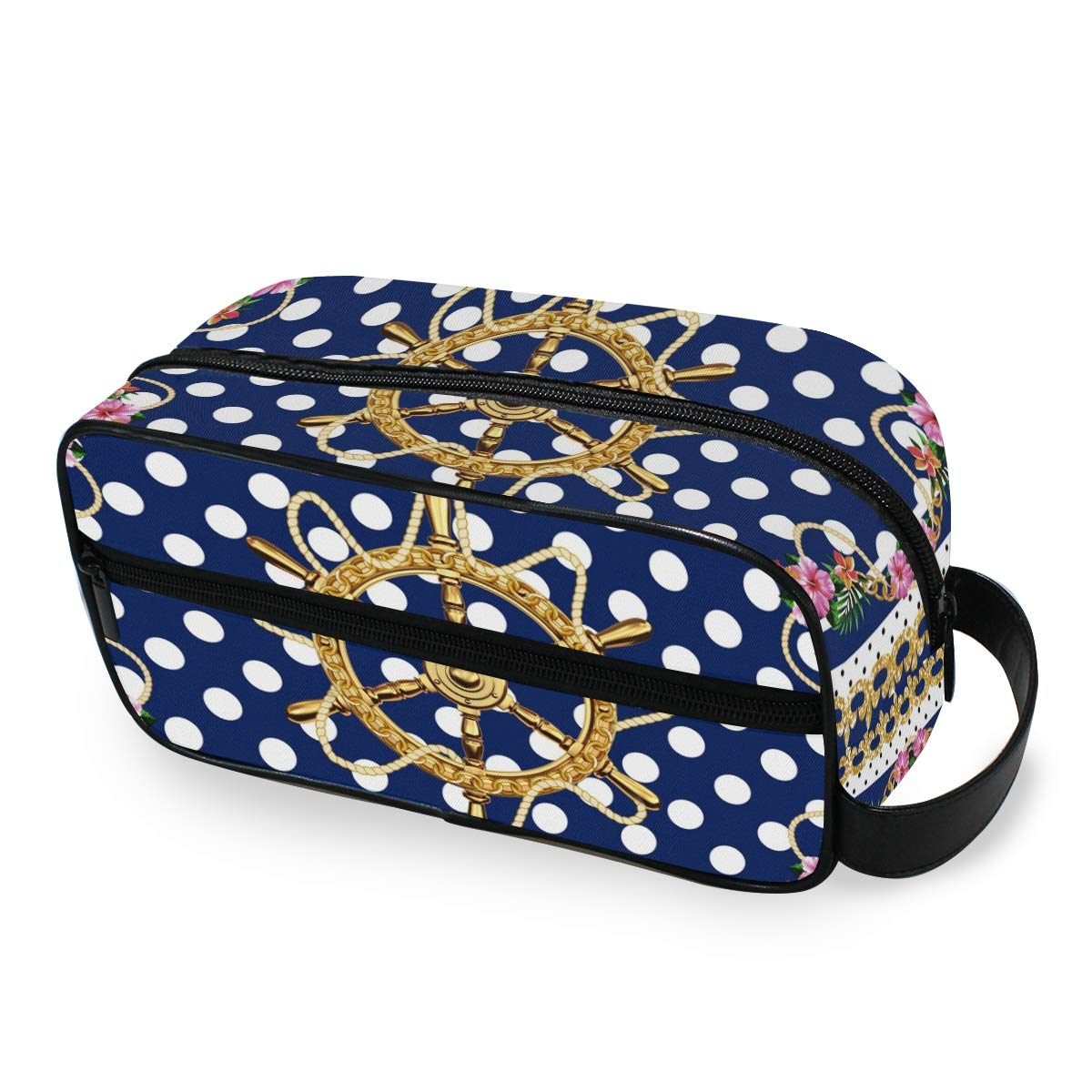 Makeup Bag Portable Travel Cosmetic Toiletry Bag Ship Wheel And Polka Dot Organizer Accessories Case Tools Case for Beauty Women