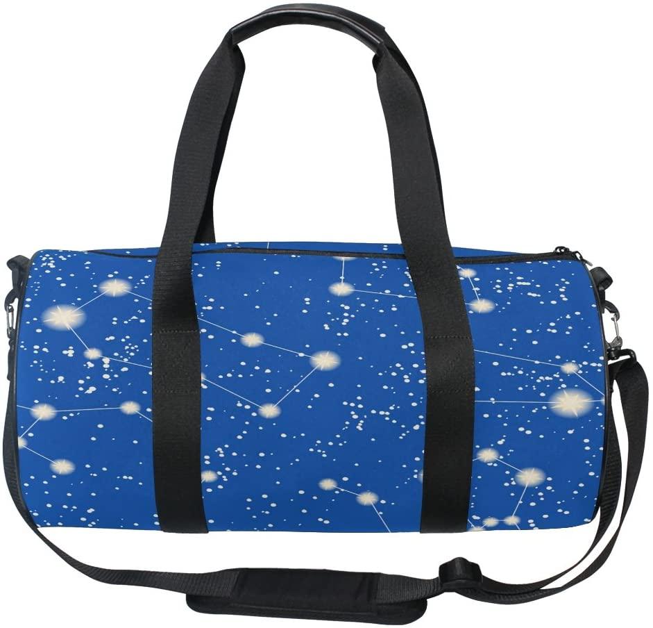 ALAZA Stylish Galaxy Constellation Stars Sports Gym Duffel Bag Travel Luggage Handbag for Men Women