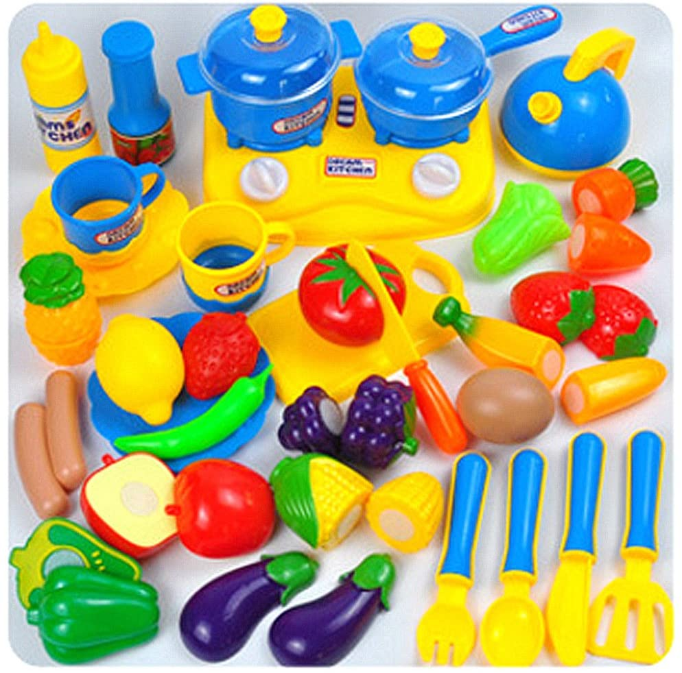 32pcs Set Play Food Toys Children's Cooking Appliances Pretend Play Toy Kitchen Toys Sets for Kids Baby, Early Development and Educational Toy (Blue)