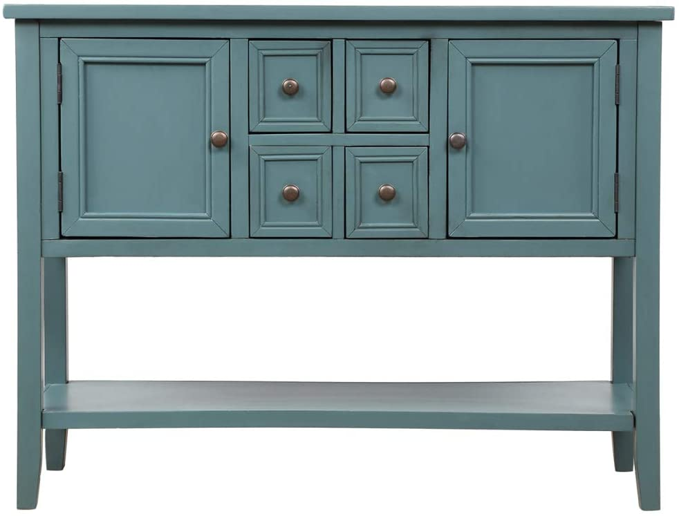 Yiying Console Table Buffet Sideboard Sofa Table with 4 Storage Drawers, 2 Cabinets and Bottom Shelf, Wood Buffet Storage Cabinet for Living Room (Dark Blue)