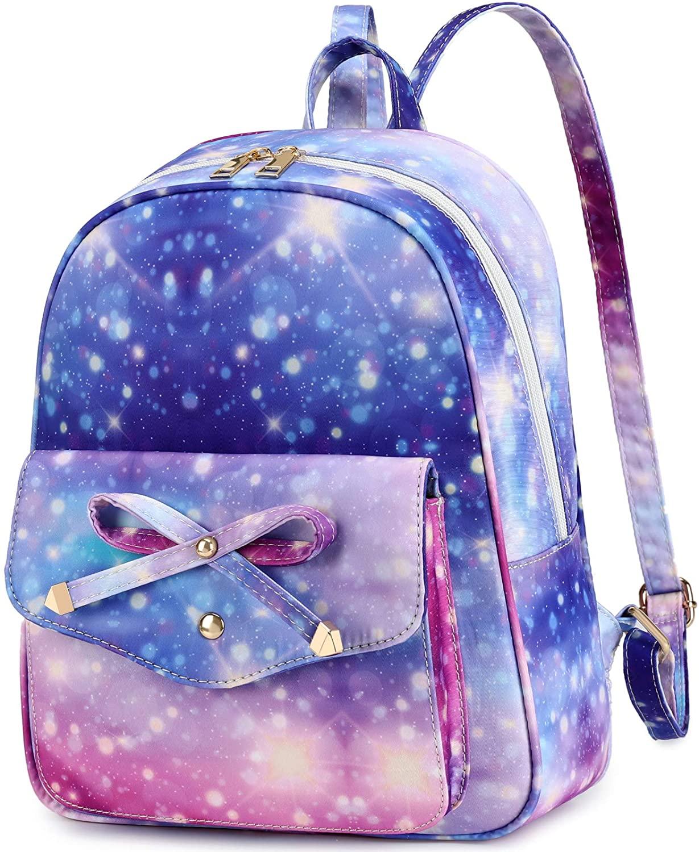 Girls Mini Backpack Cute Fashion Bowknot Galaxy Backpack Purse for Teens Women School Travel (Galaxy Purple)