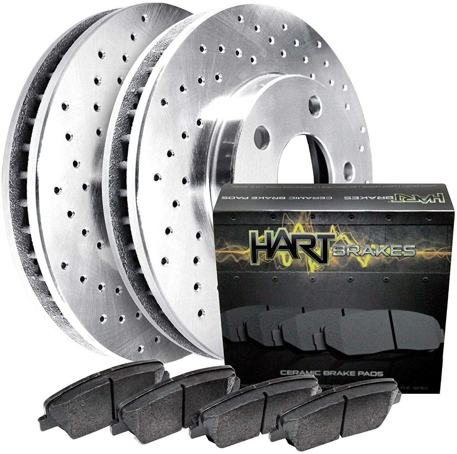 Fits Saturn SC, SL, SL1, SL2, SC1 Rear Drilled Brake Rotors Kit+Ceramic Brake Pads