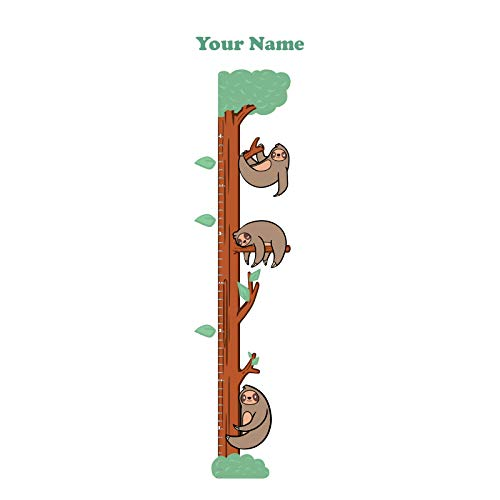 Personalized Sloth Growth Chart Wall Decals for Nursery, Kids Room