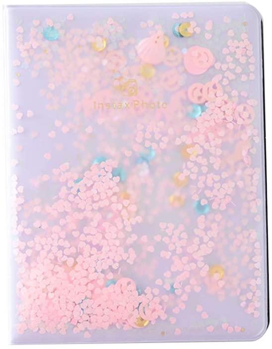 RUZYY 64 Pockets 3 Inch PVC Quicksand Sequin Photo Book Album for Instant Polaroid Fujifilm Instax Mini Film - Pink