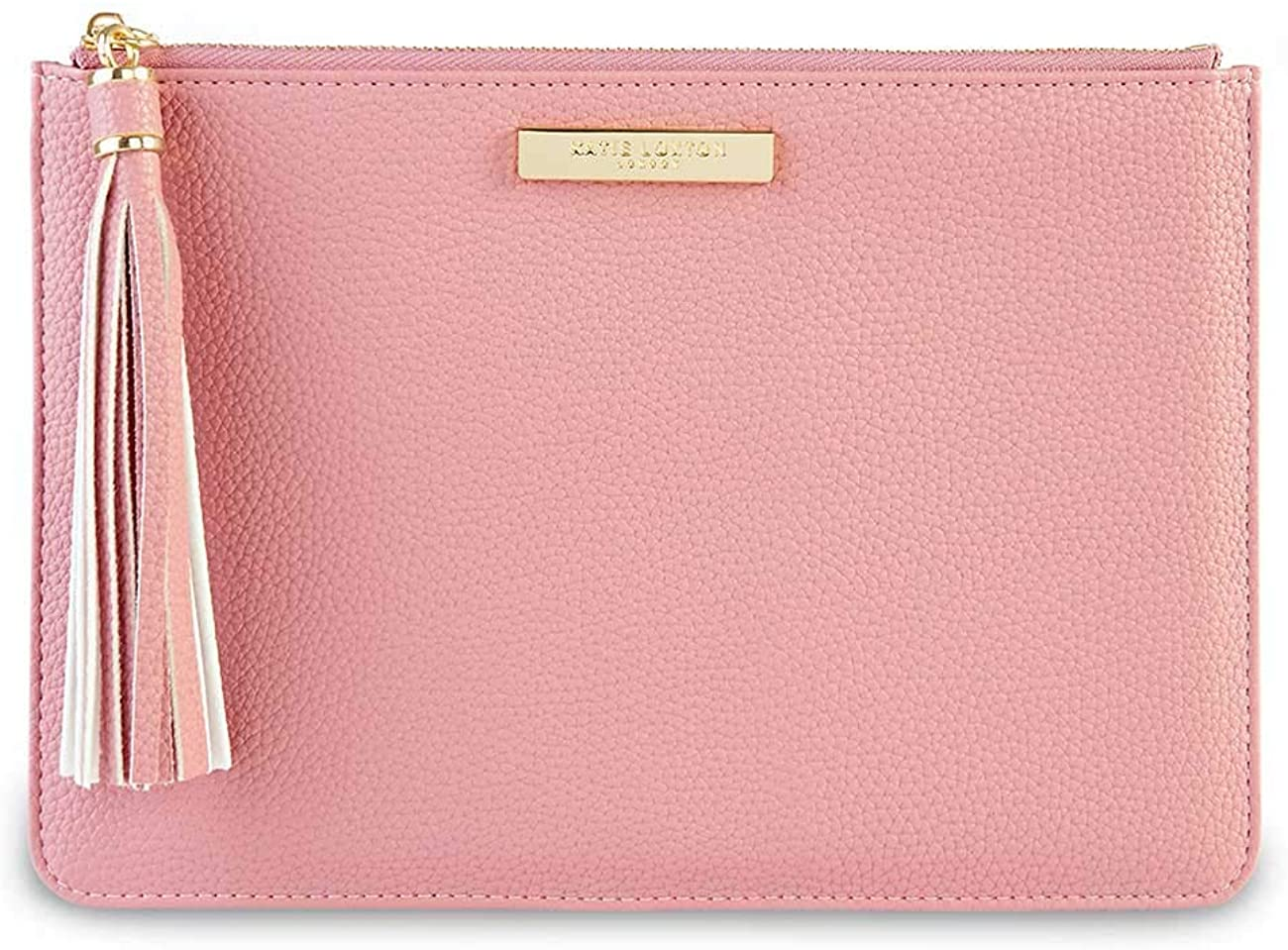 Katie Loxton Tassel Pouch Womens Vegan Leather Medium Clutch Handbag Pink