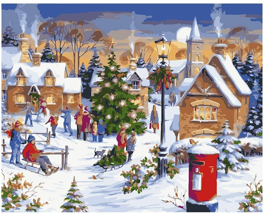 Pretty Comy Paint by Numbers for Adults, DIY Oil Painting Paint by Numbers Kits, Christmas DIY Painting Holiday Home Wall Hanging Christmas Decorations