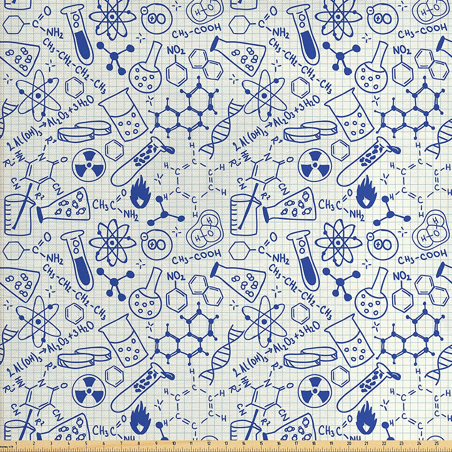 Ambesonne Children Fabric by The Yard, Science Chemistry Geometry Math Nerd Geek and Genius Themed Design Artwork, Decorative Fabric for Upholstery and Home Accents, Blue and Ivory