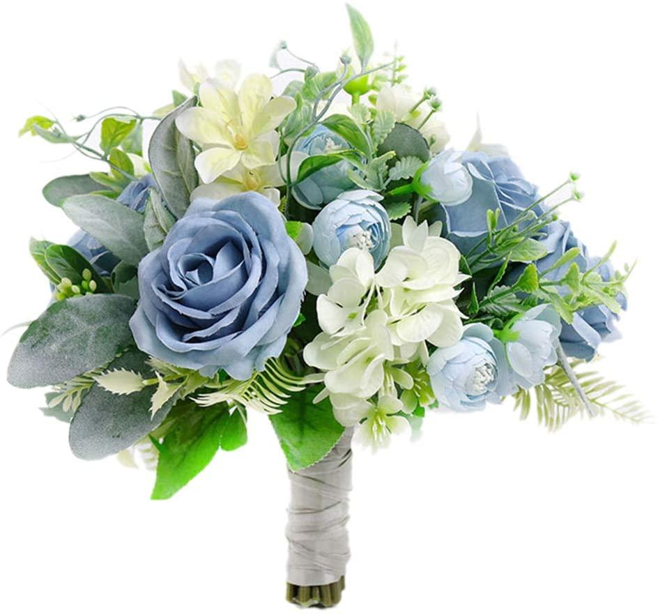 Fiwisora Bridal Holding Wedding Bouquet Fabric Blue Ivory Rose Peony Mix Flowers Bridal Wedding Throw Bouquet for Wedding Brides Bridesmaid Wedding Hold Flower