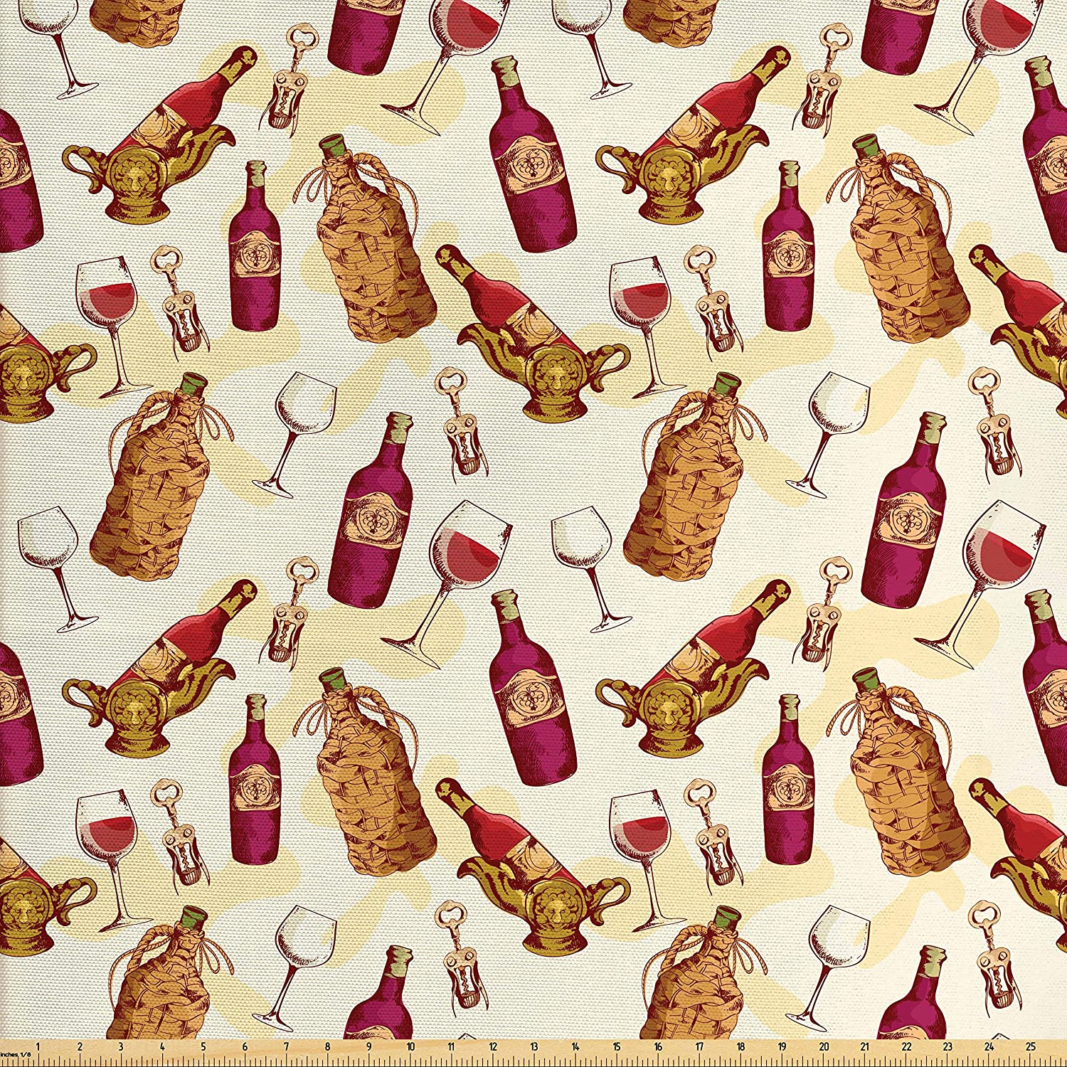 Ambesonne Winery Fabric by The Yard, Vintage Pattern with Glass Bottle Corkscrew Country Restaurant Table, Decorative Fabric for Upholstery and Home Accents, Fuchsia Ruby Pale Brown