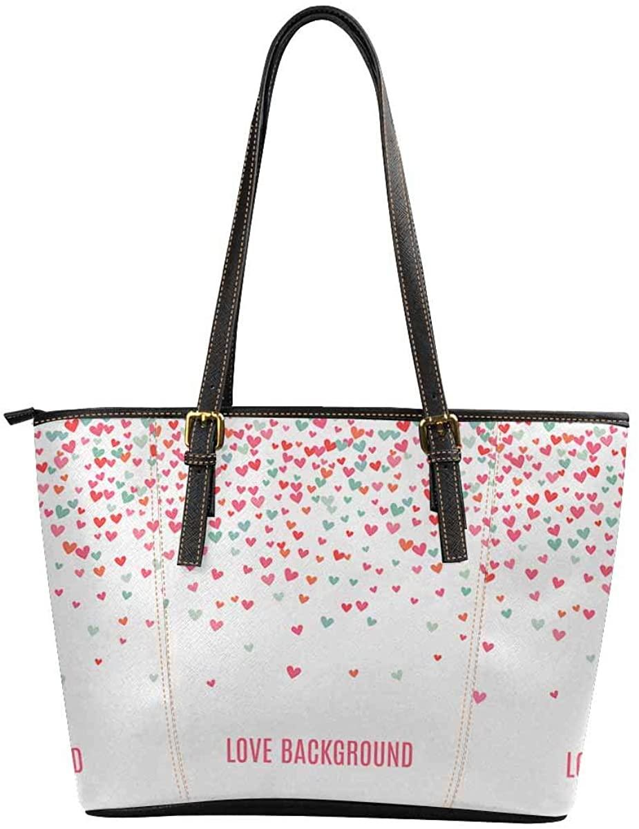INTERESTPRINT Romantic Love Heart Purses and Handbags for Women Satchel Shoulder Tote Bags