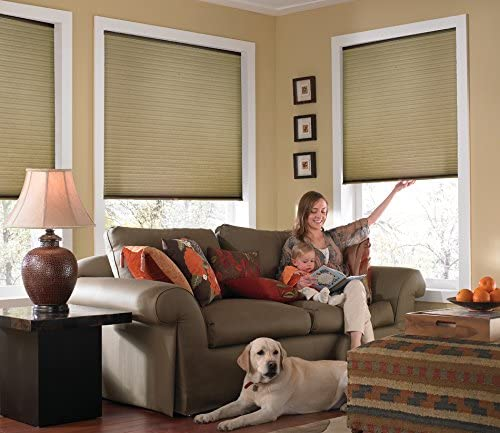 Windowsandgarden Custom Cordless Single Cell Shades, 24W x 37H, Amber, Light Filtering 21-72 Inches Wide