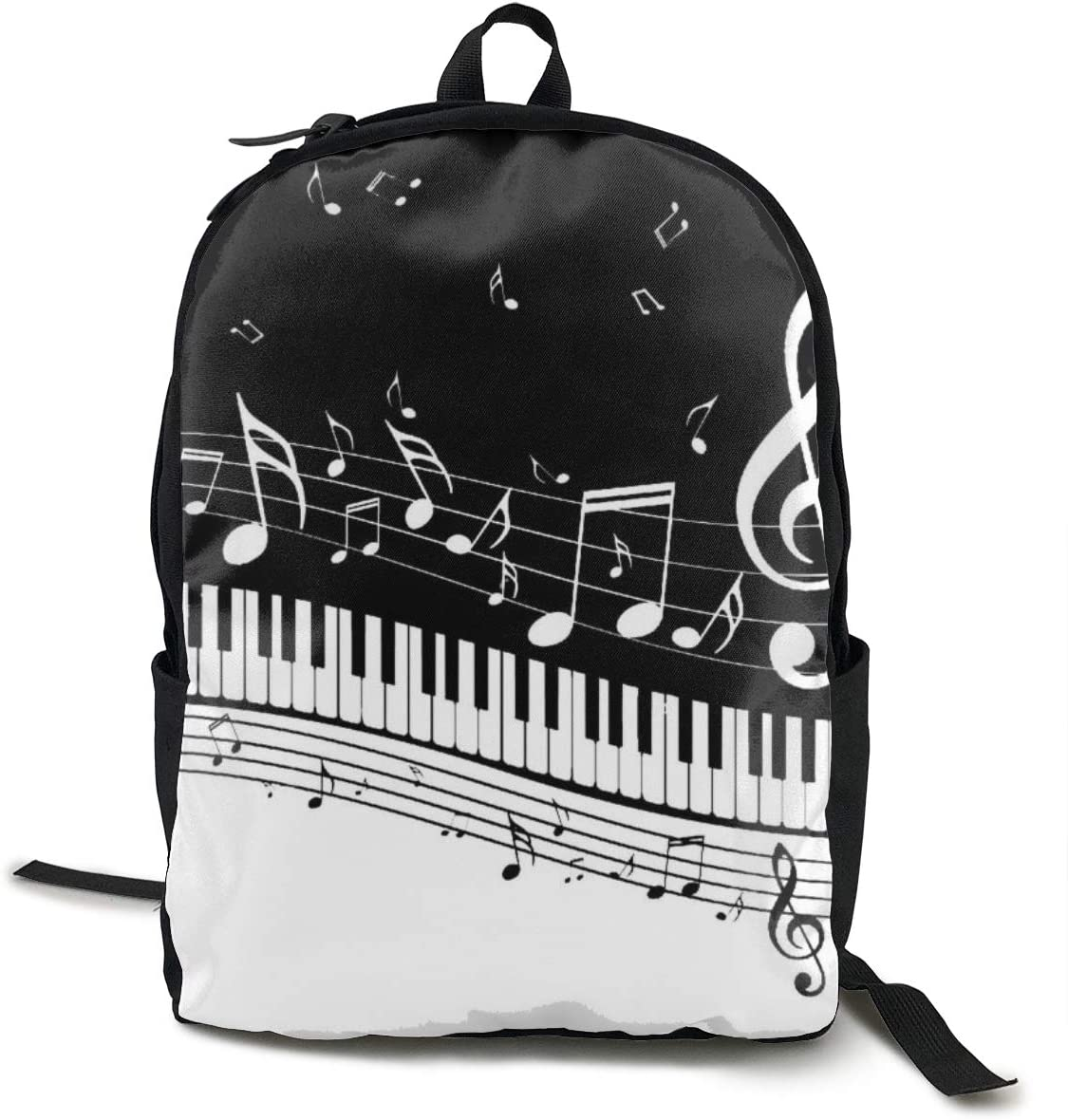 Fashion Casual Daypack Large Capacity Anti-Theft Multipurpose Laptop Backpack Travel Business Backpack School College Students Bookbag, Piano Keys with Musical Notes