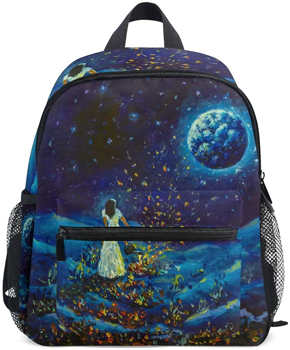 Kids School Backpack Girl In White Dress Watering Cosmic Flowers Looking Stars Of Galaxy Planet Earth Toddler Preschool Shoulder Bookbag Kindergarten Elementary School Bag for Small Boys Girls