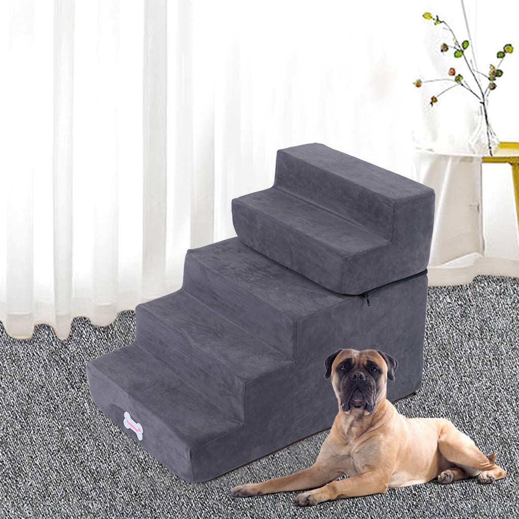 Portable Pet Stairs for Dogs Cats, Pet 4/5 Step Ladder Ramp Sofa High Bed Couches Ladder for Small Or Older Dog, Rustproof Metal Frame, Easy Climb Pet Step Stool (Gray, 25.5
