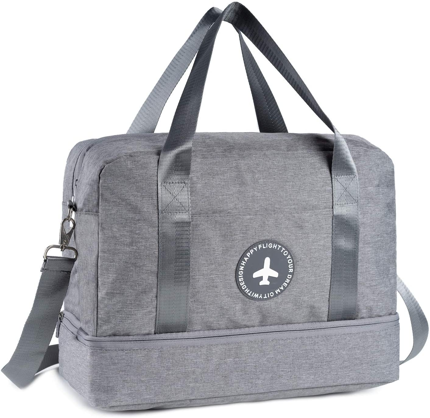 RoLekim Gym Totes Bag Gym Bag For Men and Women with Shoes Compartment Beach Bag Dry Wet Depart Swim Waterproof (Grey 2way)