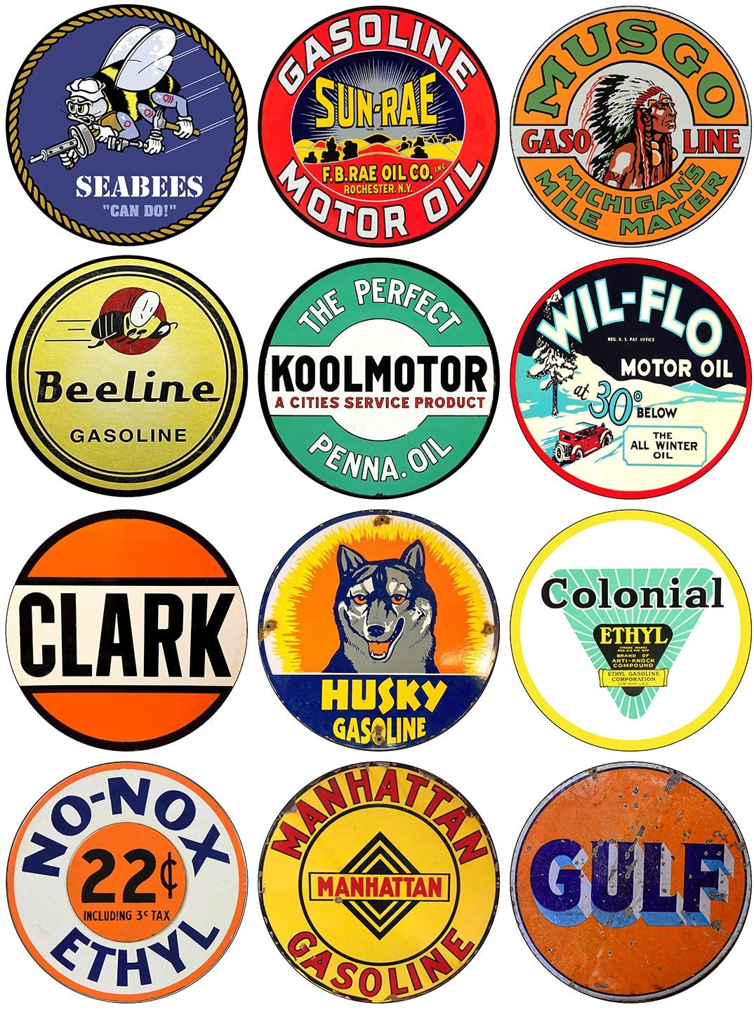 Brotherhood Vintage Gas Sign Reproduction Vintage Metal Signs Round Metal Tin Sign for Garage and Home 12 Inch Diameter – Seabees Combo 2